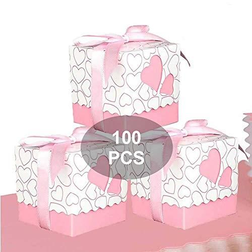 Wady Bomboniere Scatola Cuore Portaconfetti Porta Confetti Segnaposto Regalo con Il Nastro Raso 100pz Rosa
