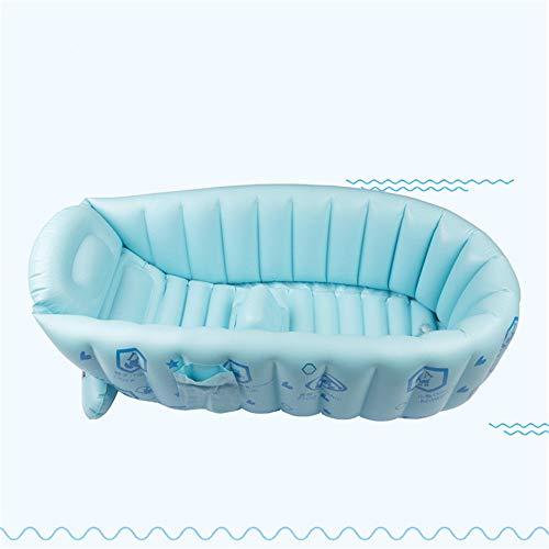 NBLYW Opblaasbare Baby Badkuip, Plastic Draagbare Opvouwbare Badkuip Soaking Sitz Bad,Mini Air Zwembad Kid Dik met Zachte Kussen Centrale Stoel Blauw