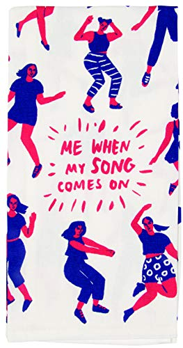 Blue Q Dish Towel, Me When My Song Comes On (Dance Party). 100% Cotton, Funny and Functional, Screen-Printed in Rich Vibrant Colors, Measures 28