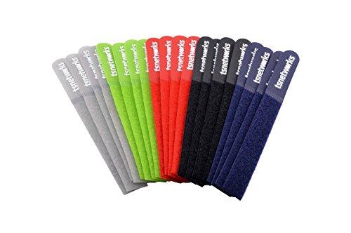 tsnetworks 20 Stk. Klett-Kabelbinder in 5 verschiedenen Farben, wiederverwendbare Klettbinder für PC Audio TV Büro, Schnurbinder Gurt mit Klettverschluss