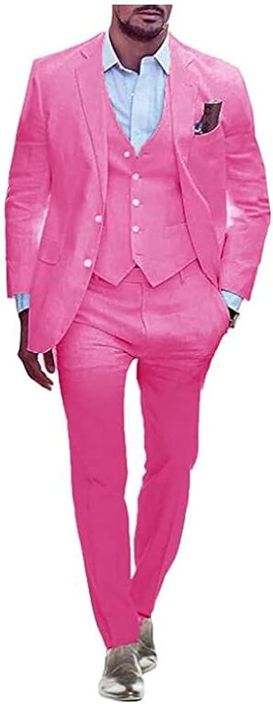 TOPG Mens 3 Piece Suit Summer Regular Fit Wedding Formal Business Prom Grooms Tuxedos