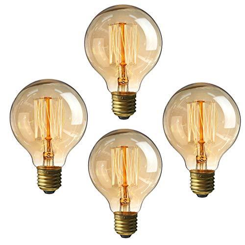 Edison Glühbirne 60Watt Vintage Leuchtmittel, 220V E27Sockel Warmweiß klar Anhänger Leuchtmittel 6Stück, G80 60.0W