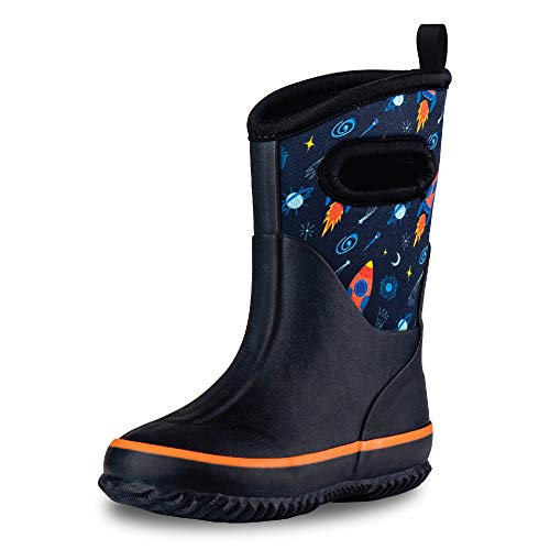 LONECONE Rain Boots with Easy-On Handles in Fun Patterns for Toddlers and Kids, Chasing Rainbows, Toddler 8