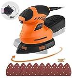Detail Sander 200W 10 Pcs Sandpapers 12000 RPM 3M Power Cord Compact...