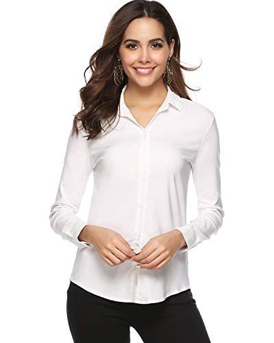 Hawiton Damesblouse Basic elegante V-hals lange mouwen hemdblouse business blouse