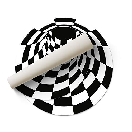 DON LETRA Alfombra Vinílica Redonda de Ilusión Óptica 3D - Blanco y Negro - 150 x 150 x 0.2 cm - Alfombra para Salón, Dormitorio, Cocina, Baño, Oficina - Impermeable y Lavable, ALV-025