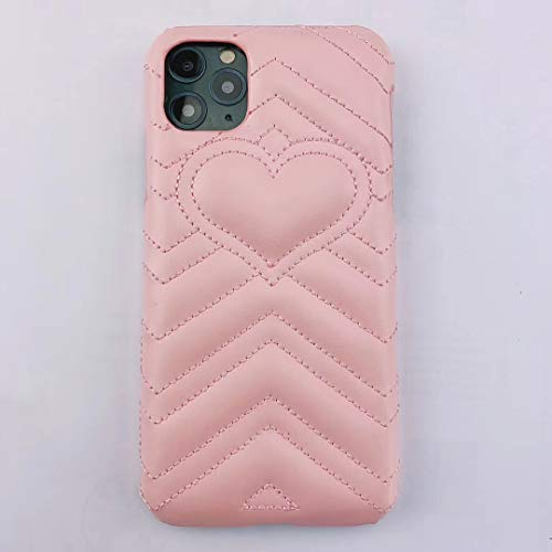 RUNEEE Luxury Genuine Leather Love Heart Phone Case for iPhone 11 Pro Max X XR XS Max 7 8 Plus GG Protective Back Cover (Color : Pink, Size : for iPhone 11)