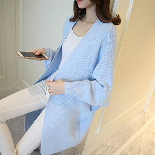 QPRER Herbst/Winter Damen Saison Long Cardigan Sweater Fledermausärmel Pullover Plus Große Jacke Loose Sweater Cardigan Hellblau,XXL