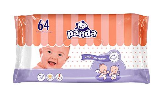 Panda Feuchttücher mit Allantoin & Vitamin E, 8 x 64 Stück, für zarte und empfindliche Babyhaut geeignet