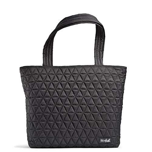 Fit & Fresh Deluxe 2 in 1 Quilted Tote Bag with Insulated Lunch Compartment, Professional Tote for Work, Black