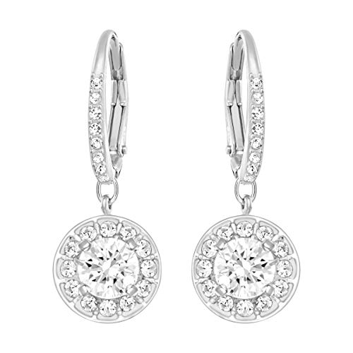 Swarovski Women's Angelic Attract Hoop Pierced Earrings, Set of Circular White Swarovski Earrings with Rhodium Plating
