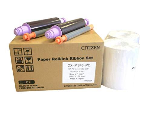 Citizen CX Media Pack – 10,2 x 15,2 cm Papierrolle und Farbband-Set (800 Drucke)