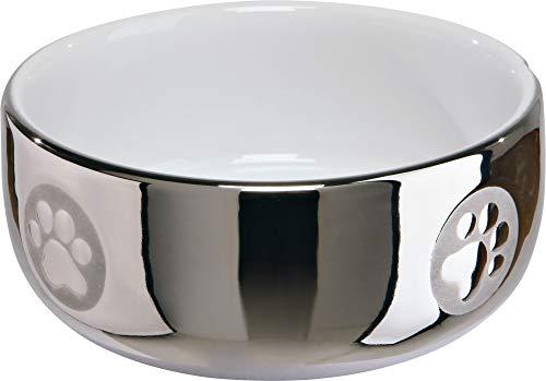 Trixie 24799 Keramiknapf, Katze, 0,3 l/ø 11 cm, silber/weiß
