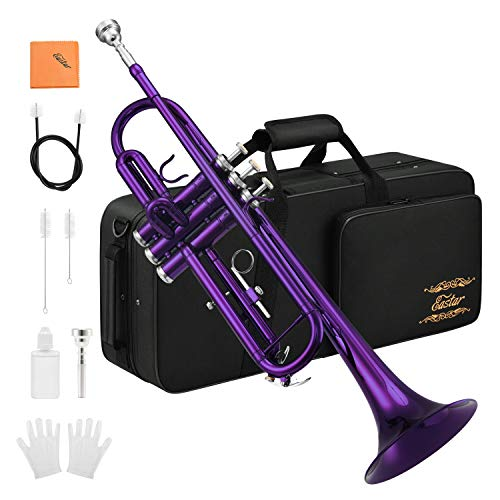 Eastar Standard Bb Purple Trumpet Set for Student Beginner Brass Instrument with Hard Case, Gloves, 7 C Mouthpiece, Valve Oil and Trumpet Cleaning Kit, ETR-380PU (Purple)