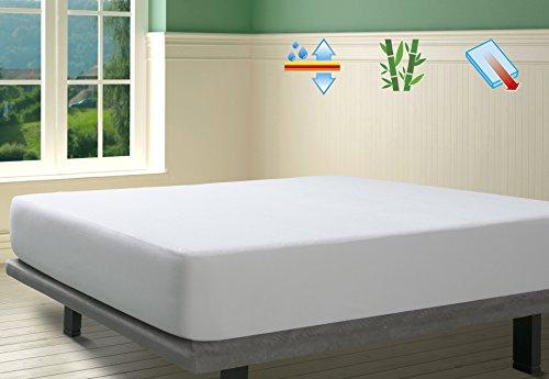 SAVEL, Protector de colchón Rizo 100% Bambú Impermeable y Transpirable, 105x190/200cm (para Camas de 105)