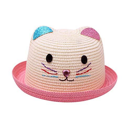 Evansamp süßer Katzen-Strohhut für 2–6 Jahre alte Babys, Kinder, Jungen, Mädchen, Sommer, atmungsaktiver Hut Cartoon Sonnenhut Cap Einheitsgröße rose