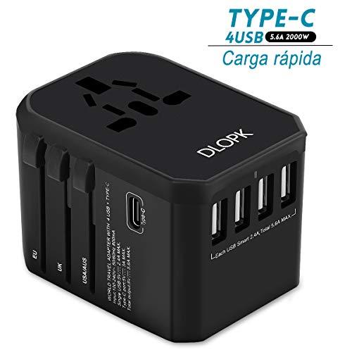 DLOPK Adattatore Universale da Viaggio 4 Porte USB e 1Type-C Adatto per apparecchiature da 2000W per AC da Parete per L'utilizzo negli Stati Uniti,Regno Unito,Europa,Australia,Asia,ECC
