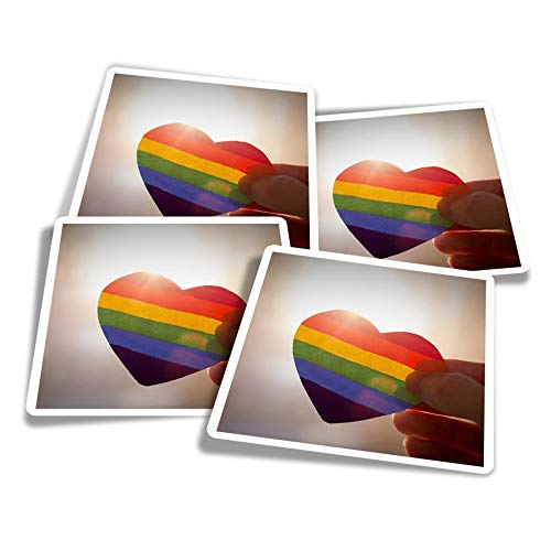 Vinyl Stickers (Set of 4) 10cm - LGBT Pink Rainbow Heart Flag Fun Decals for Laptops,Tablets,Luggage,Scrap Booking,Fridges #24566