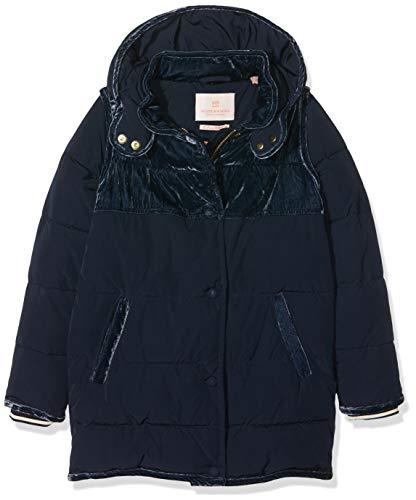 Scotch & Soda Mädchen Longer Length Padded Jacket with Velvet Contrast Panels Jacke, Blau (Night 002), 104 (Herstellergröße: 4)