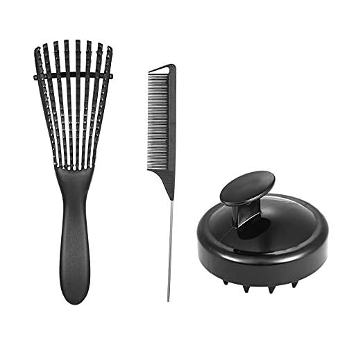 Festnight 3PCS Desenredador de cabello Masajeador de cuero cabelludo Cepillo para champú Peine para el cabello Cepillo desenredante Cepillo desenredante ajustable para cabello negro natural Rizado