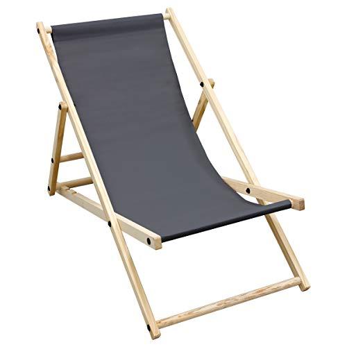 ECD Germany Liegestuhl klappbar aus Holz - 3 Liegepositionen - bis 120 kg - Anthrazit - Sonnenliege Gartenliege Relaxliege Strandliege Liege Strandstuhl Klappliegestuhl Holzklappstuhl Strandliegestuhl