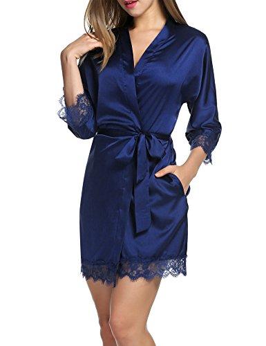 BeautyUU Damen Morgenmantel Kimono Bademantel Satin Nachthemd Nachtwäsche Schlafanzüge Mit Blumenspitze, 1-marine Blau, L