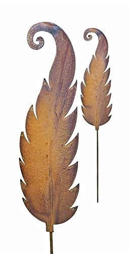 Bornhöft Gartenstecker Set 2 x Farnblatt (klein + groß) Metall Rost Gartendeko Edelrost Beetsatecker Topfstecker Naturrost rostige