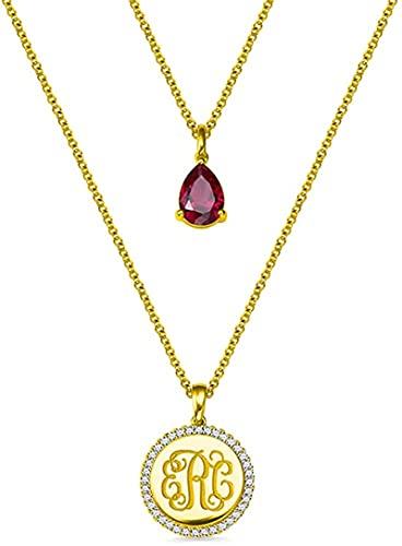 Collar upwmm de plata de ley 925 personalizado con iniciales de monograma personalizado para damas, parejas y madres como regalos Oro