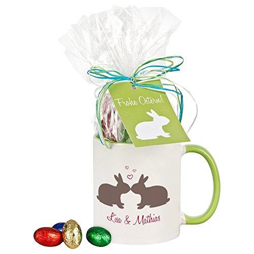 4you Design Tasse Küssende Hasen mit Schokolade/personalisiert, Kaffeebecher, Geschenkidee, Ostergeschenk, Geschenk zu Ostern, für Mann/Frau, ihn/sie, für Verliebte (grüne Tasse)