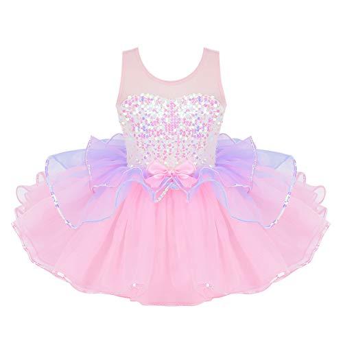 iiniim Kinder Kleid Mädchen Prinzessin Kostüm Ballerina Latein Tanzkleid Pailletten Tutu Kleid Fasching Karneval Kostüm Partykleid Rosa 122-128/7-8 Jahre