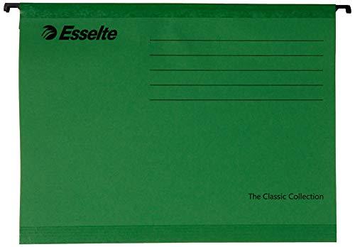 Esselte Carpeta colgante, Tamaño A4, Cartón kraft reciclado, Visor de plástico transparente, Verde, Classic, 90318, Caja de 25