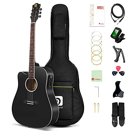 Vangoa 4 4 Guitarra para Zurdos 41 pulgadas Guitarra Electroacústica con Ecualizador de 4 Bandas, Kits Para Principiantes, Negro