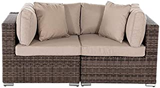 Stellahome Outdoor Wicker Furniture Patio Loveseat No Assembly All Weather Rattan Sofa Chairs Backyard Furniture Set w/Free 2 Toss Pillows