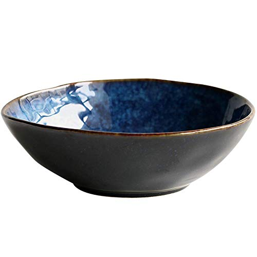 TIN-YAEN Creative Kiln Ceramic Irregular Surface Bowl Home Soup Bowl Pasta Bowl Shaped Fruit Bowl Salad Bowl Restaurant Rice Bowl Bowls