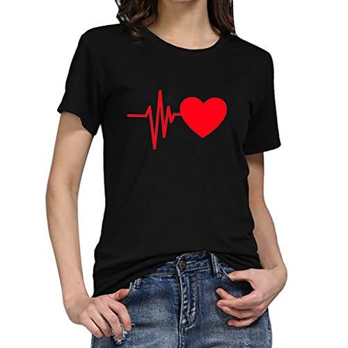 Qmber Ostern Damen Frühling Sommer T-Shirt Casual Streifen Patchwork Kurzarm Oberteil Tops Bluse Basic Top Geknöpft Stretch Shirt Loose Heart Print Elektrokardiogramm wild/C,XL