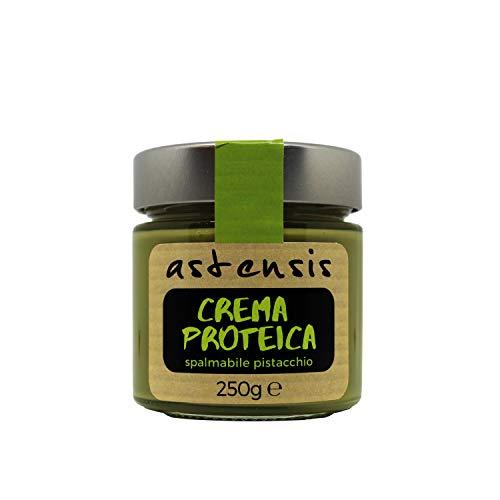 ASTENSIS Crema Proteica Pistacchio Spalmabile Artigianale 250 Gr - 34% di Proteine, Senza Zucchero, Senza Glutine e Senza Olio di Palma. Adatto per Dolci Proteici (Pistacchio)