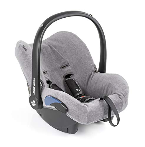 Zamboo Bezug für Maxi Cosi Cabriofix Babyschale - Sommerbezug mit perfekter Passform für Autositz Cabrio-Fix, atmungsaktiv gegen Schwitzen, maschinenwaschbar - Grau