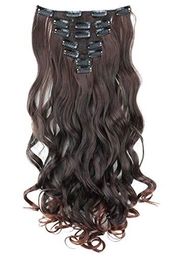 PRETTYSHOP XXL 8 pièces SET tête entière Clipser dans les extensions Extension de cheveux postiche résistant à la chaleur ondulé 60 cm mélange brun foncé # 2T33 CES23-1