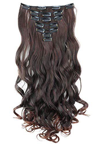 PRETTYSHOP XL 45cm 7 Teile Set CLIP IN EXTENSIONS Haarverlängerung Haarteil Voluminös Gewellt Dunkelbraun Mix CE26-1