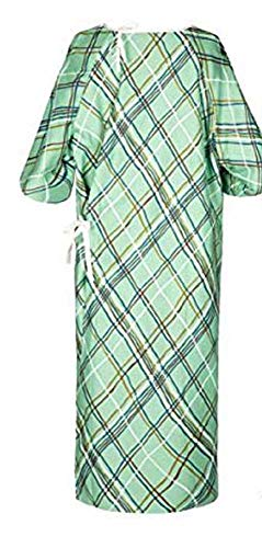 Linteum Textile (1-Piece, Green) IV Hospital Patient Gown with Telemetry Pocket, Unisex One Size Fits All