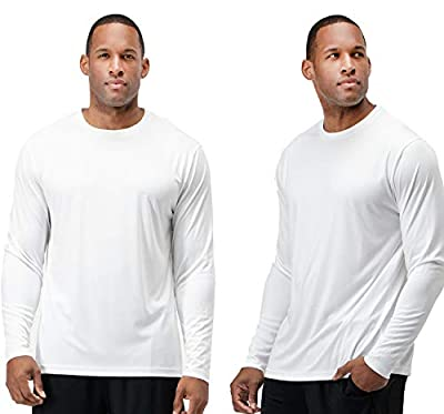 DEVOPS Men's 2 Pack UPF 50+ Sun Protection Long Sleeve Dri Fit Fishing Hiking Running Workout T-Shirts (X-Large, White)