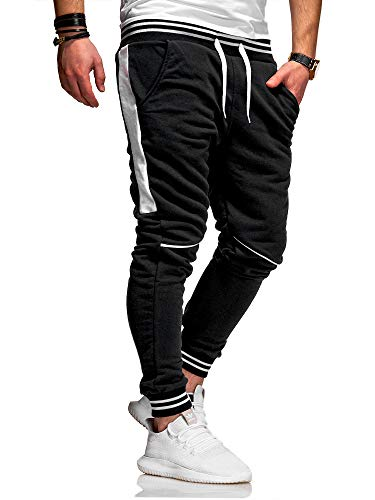 behype. Herren Lange Trainingshose Jogging-Hose Sport-Hose Kontrast-Stripes 60-3171 (S, Schwarz-Weiß)