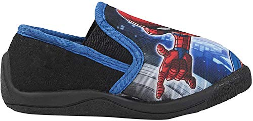 Marvel Ultimate Spiderman Jungen Hausschuhe, Blau - Blauer Text - Größe: 30 EU
