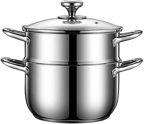 XY-M Vaporizador de vaporizador de Acero Inoxidable cocinar Olla Olla Olla Utensilios de Cocina con Tapa Transparente Caldera de múltiples Capas Vapor para Cocina Doble Capa 20 cm