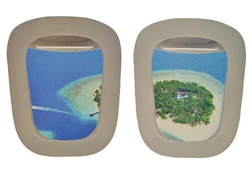 alles-meine.de GmbH 2 TLG. XL Set: Wandtattoo / Sticker -  Fenster im Flugzeug  - Karibik Landschaft Urlaub Bullauge - Wandsticker Aufkleber - Reise Urlaub / Südsee - Landschaf..