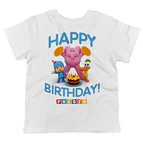 Trunk Candy Pocoyo - Happy Birthday! Toddler T-Shirt (White, 4T)