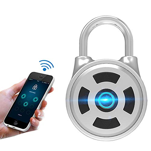 Smart Bluetooth Padlock Mobile APP Lock – Press Key Lock with Keyless Biometric - Suitable for Gym Sports Bike School Fence and Backpack