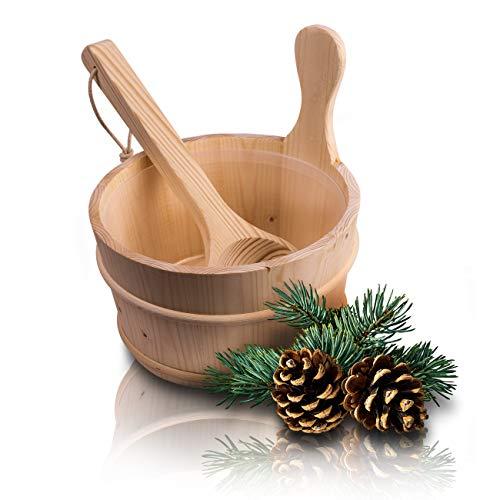 CozyNature Seau de sauna avec louche en bois de pin finlandais de haute qualité   accessoires de sauna, seau de sauna, seau à infusion   seau en plastique inclus - 4 litres