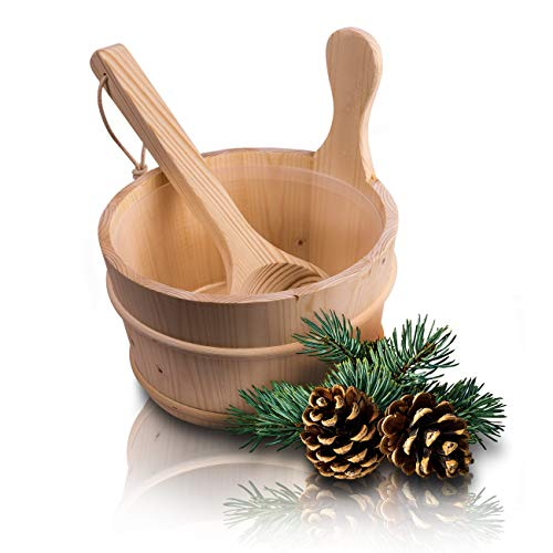 CozyNature Sauna Bucket con cucharón de madera de pino finlandés, incluyendo la tapa de plástico - 4 litros (cubo de sauna + cucharón + tapa de plástico)