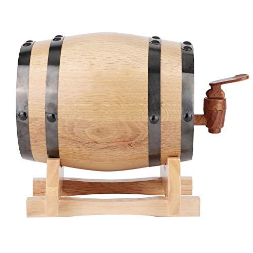 Ftory Weinfass - 1L Mini tragbares Haushalts Eichenholz Weinfass Fass Fassbrauausrüstung(1L-Holzfarbe mit schwarzem Reifen)